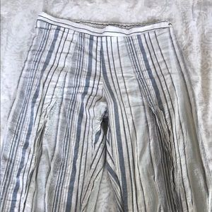 Linen striped cropped pants
